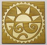 Aztec Sun and Moon on wood