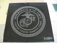 US Marines logo on Marble