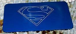 Superman vectorcut into anodized aluminum