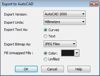 Select DXF Settings as version:AutoCAD 2000, Text as Curves, Bitmap as JPEG, Unmapped fills with Black.