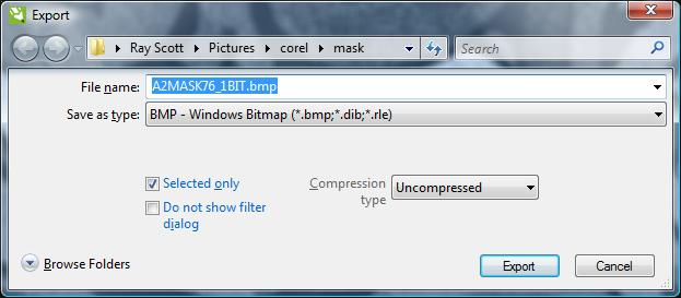 Select the file BMP type, location, and name.