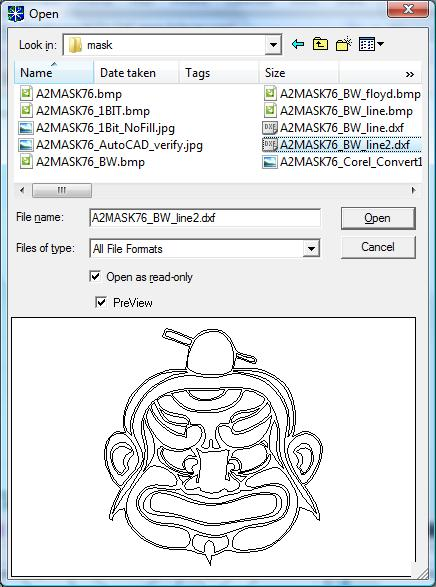 Select the AutoCAD DXF 2000 file to import.