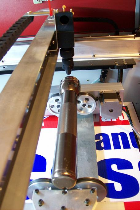 Center the axis under the laser Y-axis rail